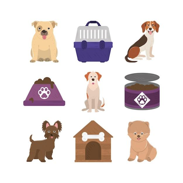 Zwierzęta, Psy W Puszkach Miska Klatki I Ikony Domu Premium Wektorów