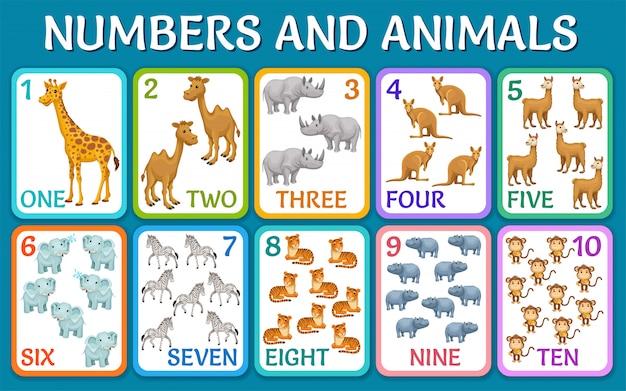 Zwierzęta Sawanny, Pustyni. Karty Z Numerami. Premium Wektorów