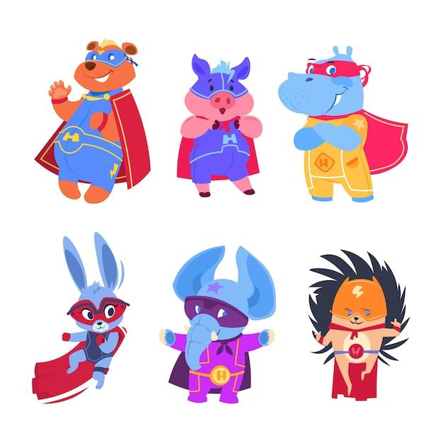 Zwierzęta superbohaterów. zestaw znaków bohaterów dziecka Premium Wektorów