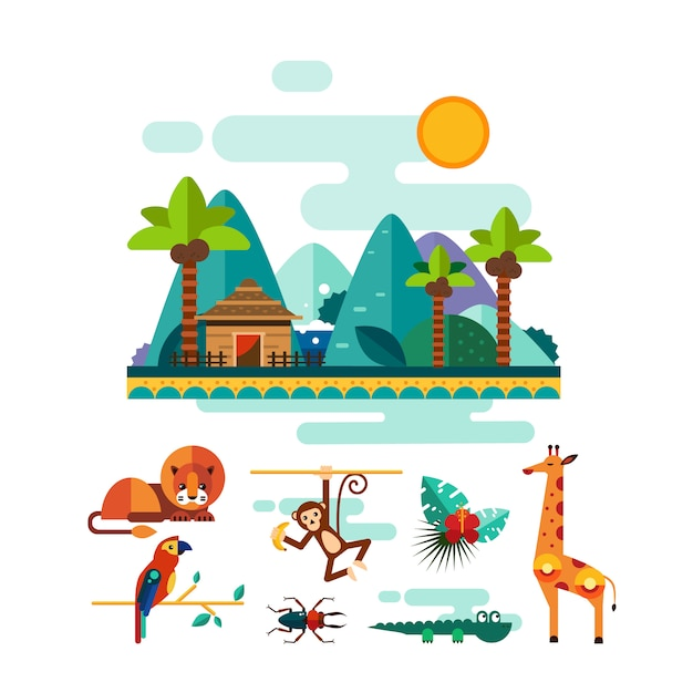 Zwierzęta Tropikalne, Owady I Ptaki Na Zestaw Ilustracji Dżungli Premium Wektorów