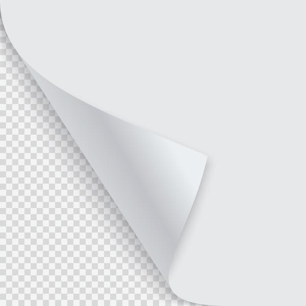 Zwinięty róg papieru z cieniem Premium Wektorów