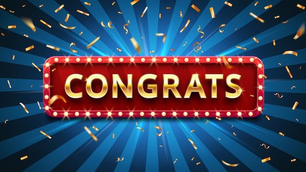 Zwycięzca Gratulacje, Złote Konfetti I Złote Gratulacje Podpisać W Ramce Ilustracji Wektorowych Premium Wektorów