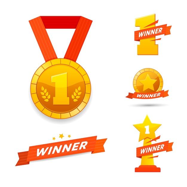Zwycięzca Zestaw Nagród Ikony Lub Projekt Etykiety. Premium Wektorów