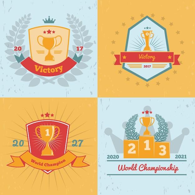 Zwycięzcy Mistrzostw świata Nagradzają Złote Trofea, Emblematy 4 Płaskie Kolorowe Tło Kolekcja Ikon Na Białym Tle Darmowych Wektorów
