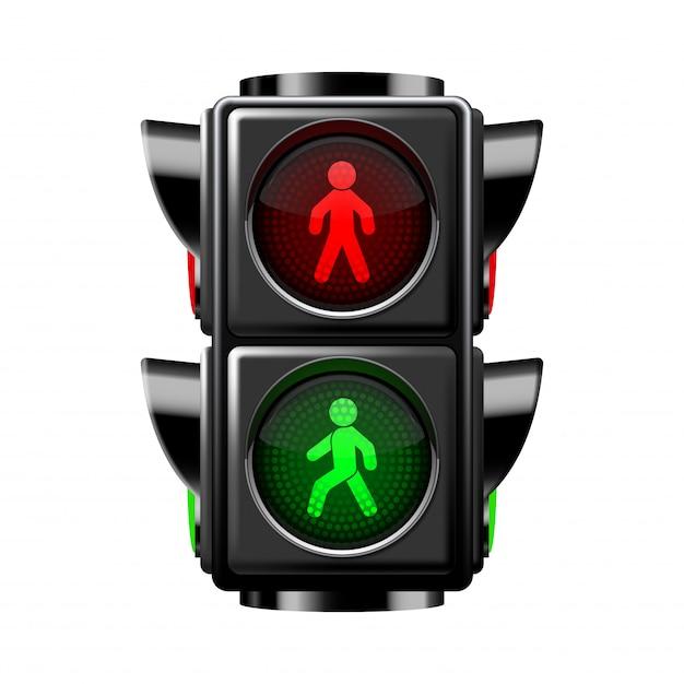 Zwyczajni światła ruchu czerwień i zieleń odizolowywający na bielu Premium Wektorów