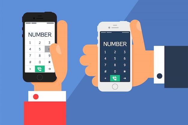 Życie towarzyskie ze smartfonem. telefon w ręku i ekran smartfona z numerem w minimalistycznym stylu. Premium Wektorów
