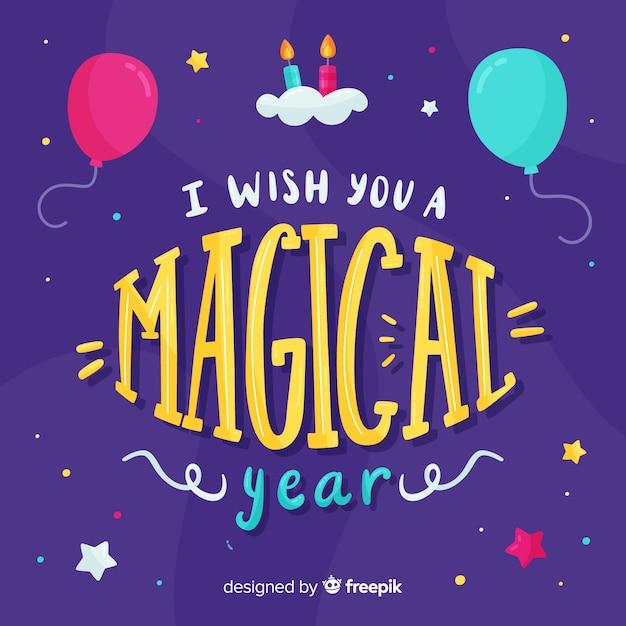 Życzę ci urodzinowej karty z magicznym rokiem Darmowych Wektorów