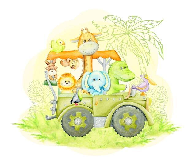 Żyrafa, Słoń, Aligator, Tukan, Lew, Małpa, Lenistwo, Podróżujący Jeepem. Akwarela Ilustracja Premium Wektorów