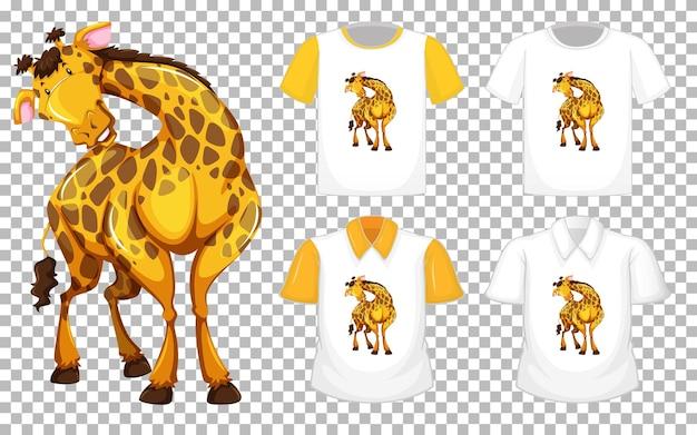 Żyrafa W Pozycji Stojącej Postać Z Kreskówki Z Wieloma Rodzajami Koszul Na Przezroczystym Tle Darmowych Wektorów