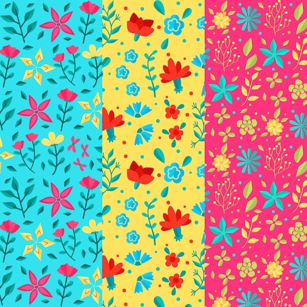 Żywe Kolory Wiosenny Wzór Płaski Kwiat Darmowych Wektorów
