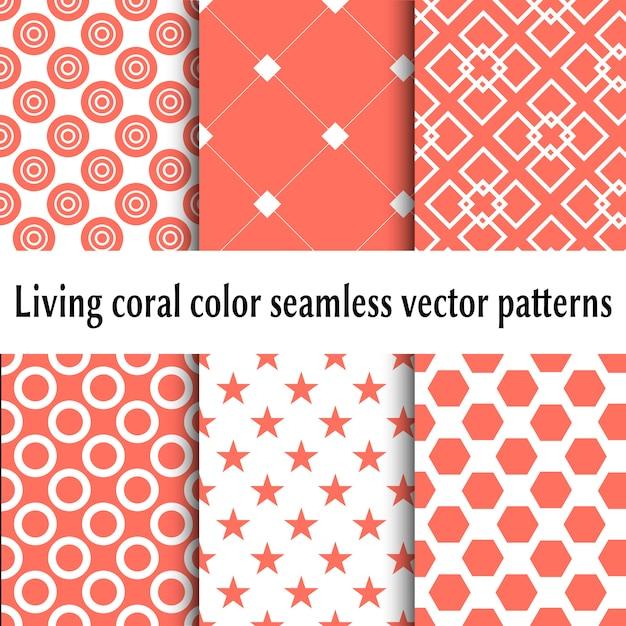 Żywe wzory bezszwowe kolor koralowy. zestaw abstrakcyjne tła. żywy kolor koralowca Premium Wektorów