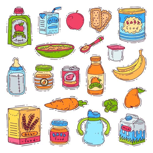 Żywność Dla Niemowląt Dziecko Zdrowe Odżywianie Puree Warzywne W Słoiku I świeży Sok Z Owocami Banany Jabłka Dla Zestawu Opieki Nad Dziećmi Premium Wektorów