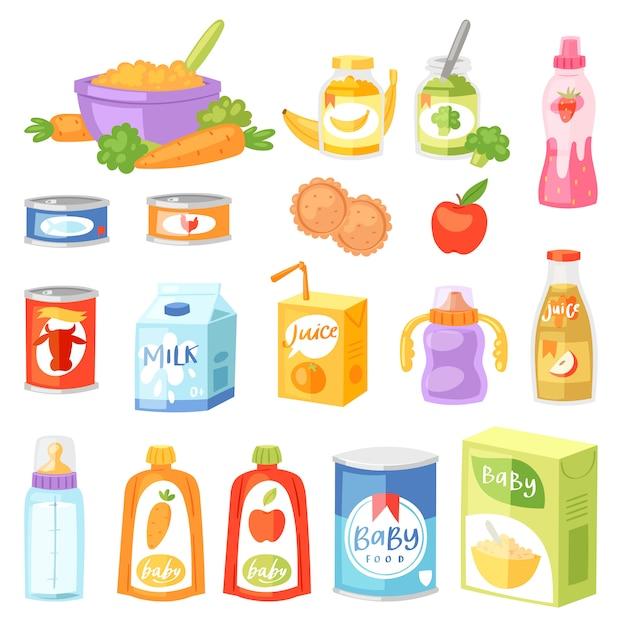 Żywność Dla Niemowląt Wektor Dziecko Zdrowe Odżywianie świeży Sok Z Owoców I Warzyw Puree Puree Dla Opieki Zdrowotnej Ilustracji Dziecinna Zestaw Marchew Lub Jabłko I Mleko Izolowane Premium Wektorów