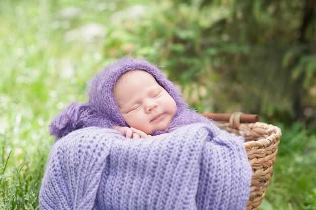 17-dniowy uśmiechnięty noworodek śpi na brzuchu w koszu na łonie natury w ogrodzie na świeżym powietrzu. Premium Zdjęcia