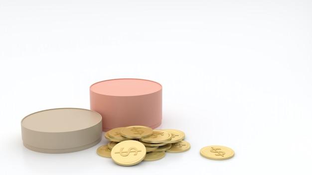 2-te Cylindryczne Pudełka W Wielu Rozmiarach, Pastelowych Kolorach I Złotych Monetach Na Podłodze I Białym Tle, Półodblaskowe, Z Koncepcją Pakietu Pudełek Prezentowych Rendering 3d Premium Zdjęcia