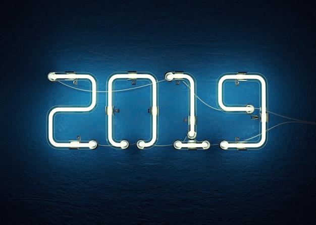 2019 Szczęśliwego Nowego Roku 3d Render Premium Zdjęcia