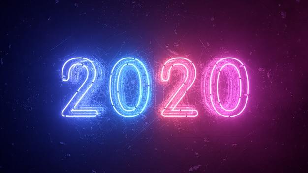 2020 Neon Znak Tło Koncepcja Nowego Roku. Szczęśliwego Nowego Roku. Metalowe Tło Premium Zdjęcia