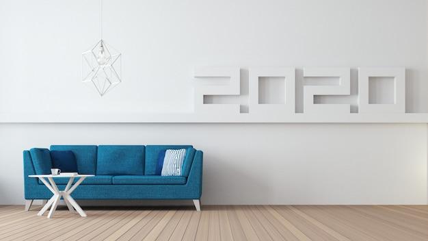 2020 Szczęśliwego Nowego Roku Wnętrze Salonu / Wnętrze Renderowania 3d Premium Zdjęcia