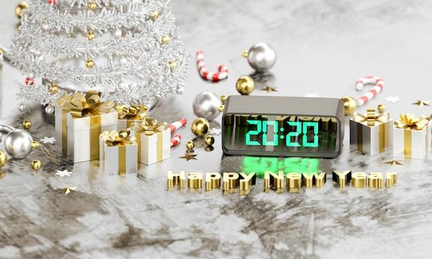 2020 Tekstów W Cyfrowym Zegarze Led świeci Szczęśliwych Nowych Lat Premium Zdjęcia