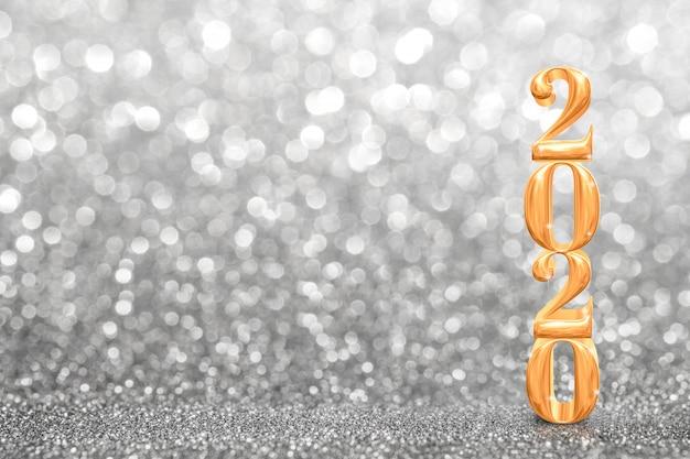 2020 złoty nowy rok renderowania 3d w perspektywie streszczenie musujące jasny srebrny brokat, tło karty z pozdrowieniami Premium Zdjęcia
