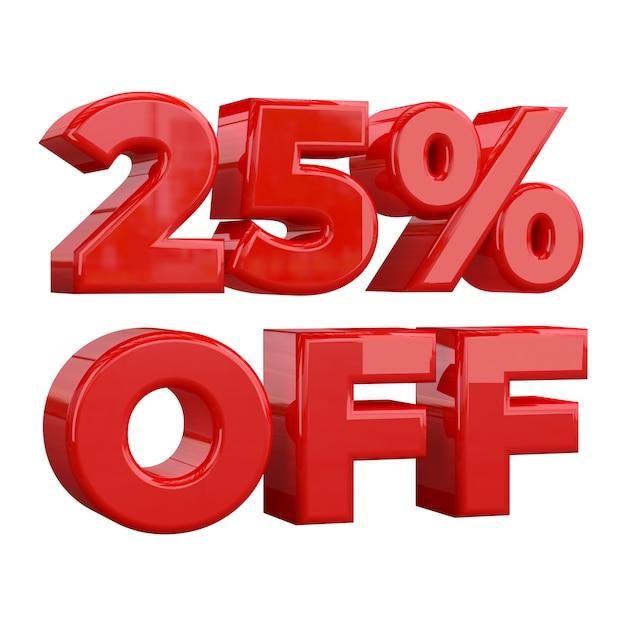 25% zniżki na białym tle, oferta specjalna, świetna oferta, wyprzedaż. dwadzieścia pięć procent zniżki na promocyjne Premium Zdjęcia