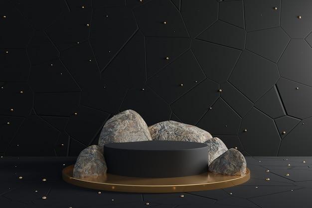 3d Abstrakcjonistyczna Scena Z Czarnym Podium I Realistycznymi Skałami. Premium Zdjęcia