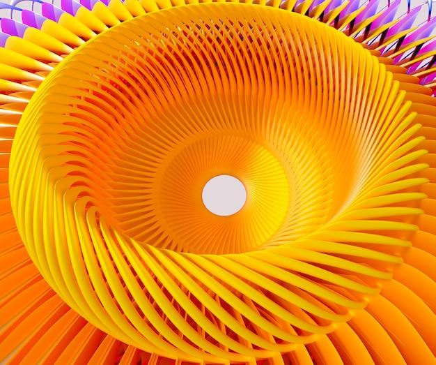 3d Abstrakcyjna Sztuka Z Surrealistycznym Silnikiem Turbinowym O Skręconej Strukturze Lub Gwiazdą Słoneczną W Kolorze żółtym Premium Zdjęcia