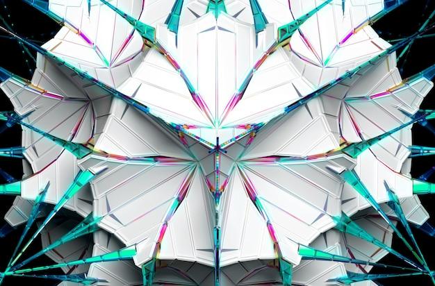 3d Abstrakcyjny Surrealistyczny Kosmiczny Futurystyczny Obiekt Fraktalny Oparty Na Trójkątnym Wzorze W Kulistym Kształcie Z Białego Plastiku Z Długimi Kolcami Ze Szkła Premium Zdjęcia