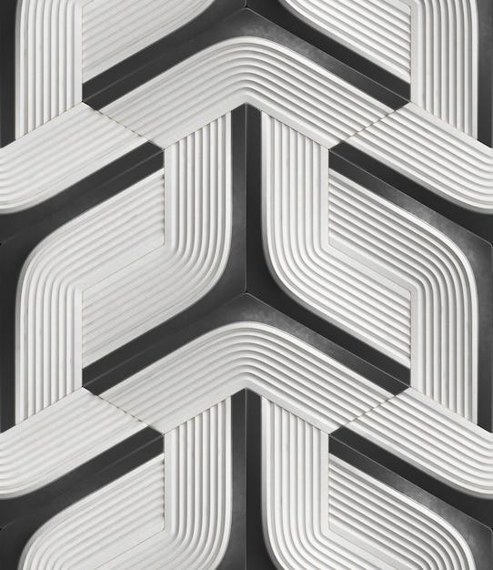3d Bezszwowy Wzór W Postaci Białych Modułów Reliefowych Z Czarnymi Elementami. Premium Zdjęcia