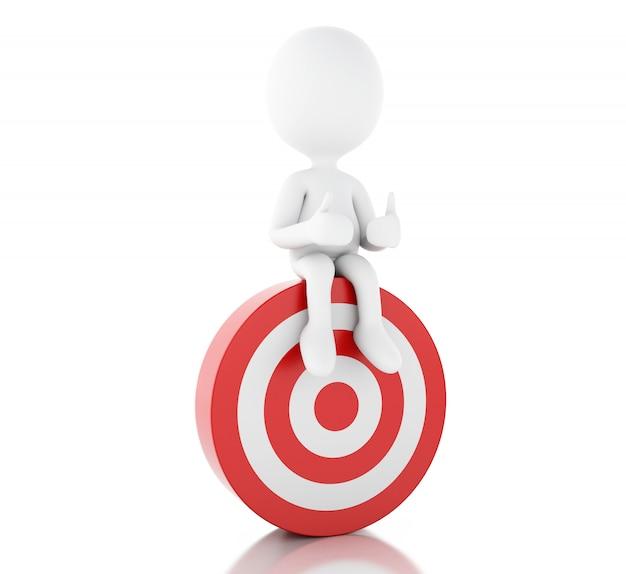 3d Biali Ludzie I Czerwony Cel. Sukces W Biznesie. Premium Zdjęcia