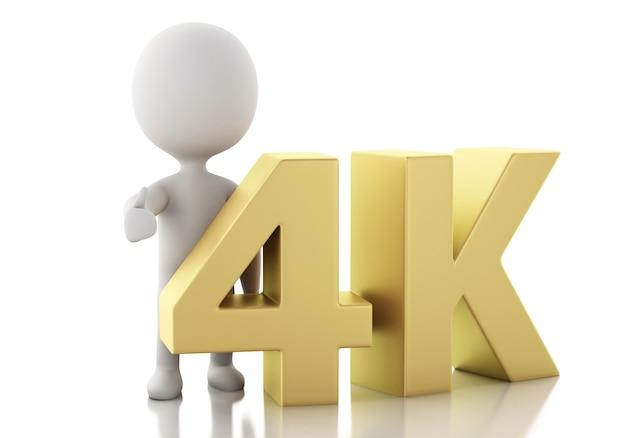 3d białych ludzi z 4k ultrahd tv. Premium Zdjęcia