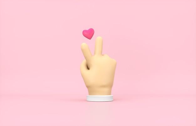 3d Cartoon Ręka Z Ikoną Mini Serca Na Różowym Tle Na Białym Tle. Premium Zdjęcia