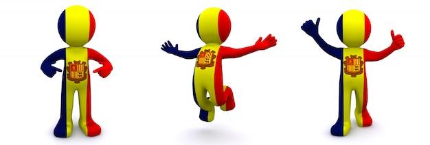 3d Charakter Teksturowane Z Flagą Andory Premium Zdjęcia