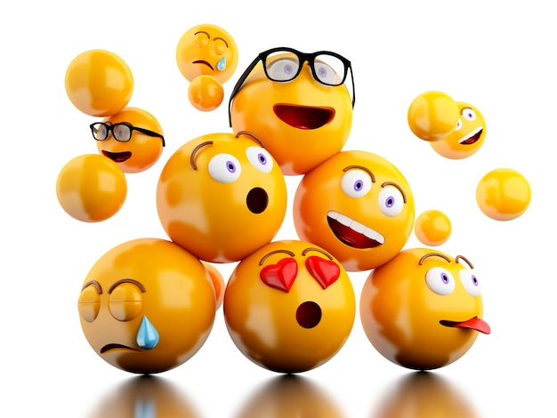 3d ikony emoji z wyrazami twarzy. Premium Zdjęcia