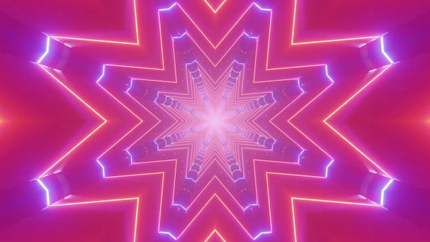 3d Illustration Abstrakcyjna Sztuka Wizualna Z Geometrycznymi Liniami Neonowymi Tworzącymi Wzór W Kształcie Gwiazdy Na świąteczną Nocną Dekorację Tła Premium Zdjęcia