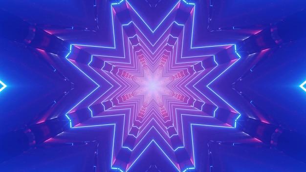 3d Illustration Abstrakcyjne Tło Sztuki Z Efektem Złudzenia Optycznego Utworzone Z Geometrycznego Ornamentu W Kształcie Kryształu Z Różowym I Fioletowym Oświetleniem Neonowym Premium Zdjęcia