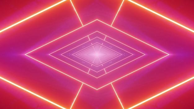 3d Illustration Abstrakcyjne Tło Ze ścisłym Geometrycznym Rombem Utworzonym Ze świecących Linii Neonowych Na świetlistym Różowym Tle Premium Zdjęcia