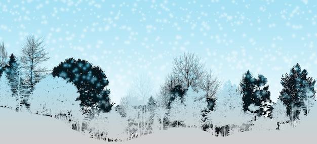 3d Illustration Niebieski Zimowy Krajobraz Niebieski Górski Las Sosnowy Zaśnieżone Niebo Realistyczna Ilustracja Premium Zdjęcia