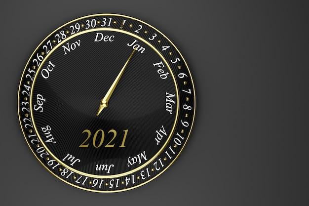 3d Ilustracja Czarny Okrągły Kalendarz Z Zegarem 12 Miesięcy, 31 Dni I Rok 2021 Na Czarnym Tle. Premium Zdjęcia