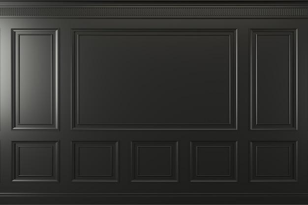 3d ilustracja. klasyczna ściana z ciemnych drewnianych paneli. stolarka we wnętrzu. tło. Premium Zdjęcia