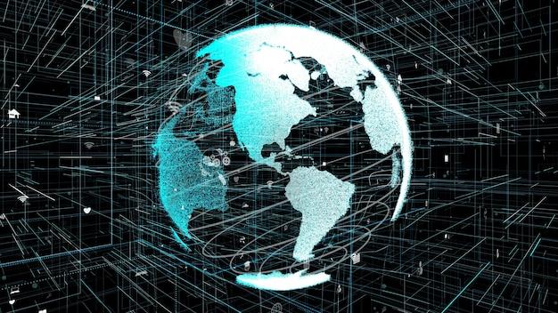 3d Ilustracja Koncepcji Globalnej Sieci Internetowej Premium Zdjęcia