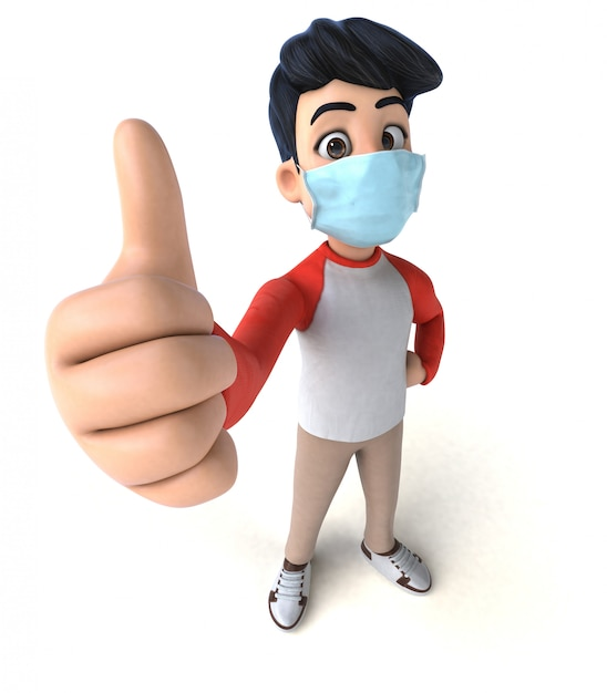 3d Ilustracja Nastolatka Z Maską Do Zapobiegania Koronawirusowi Premium Zdjęcia