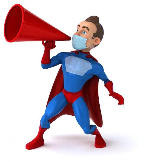 3d Ilustracja Postać Z Kreskówki Z Maską Dla Zapobiegania Koronawirusa Premium Zdjęcia
