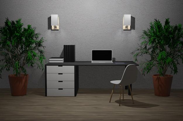 3d Ilustracja Pracujący Pokój Premium Zdjęcia