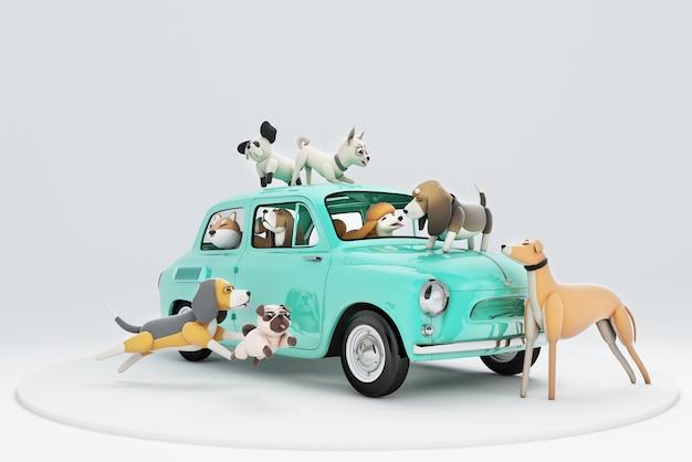 3d Ilustracja Psów Jadących Samochodem Premium Zdjęcia