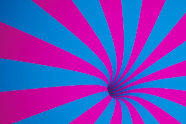 3d Ilustracja Różowo-niebieski Lejek. Paski Kolorowe Abstrakcyjne Tło. Premium Zdjęcia