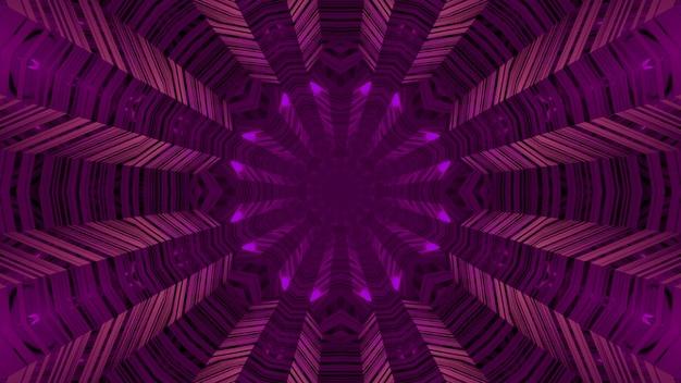3d Ilustracja Streszczenia Okrągłego Niekończącego Się Korytarza Z Liniami świecącymi Fioletowym Oświetleniem Neonowym Premium Zdjęcia