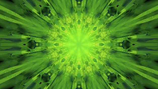 3d Ilustracja Streszczenie Teksturowanej Tunelu Z Geometrycznymi Kształtami I Liniami świecącymi Zielonym światłem Premium Zdjęcia