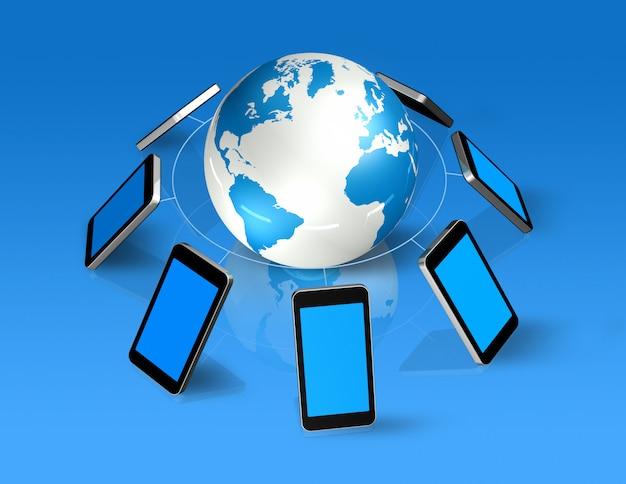 3d izolowane telefony komórkowe na całym świecie Premium Zdjęcia