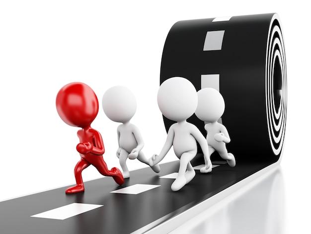 3d ludzie biega z czerwonym liderem na drodze. koncepcja lidera Premium Zdjęcia